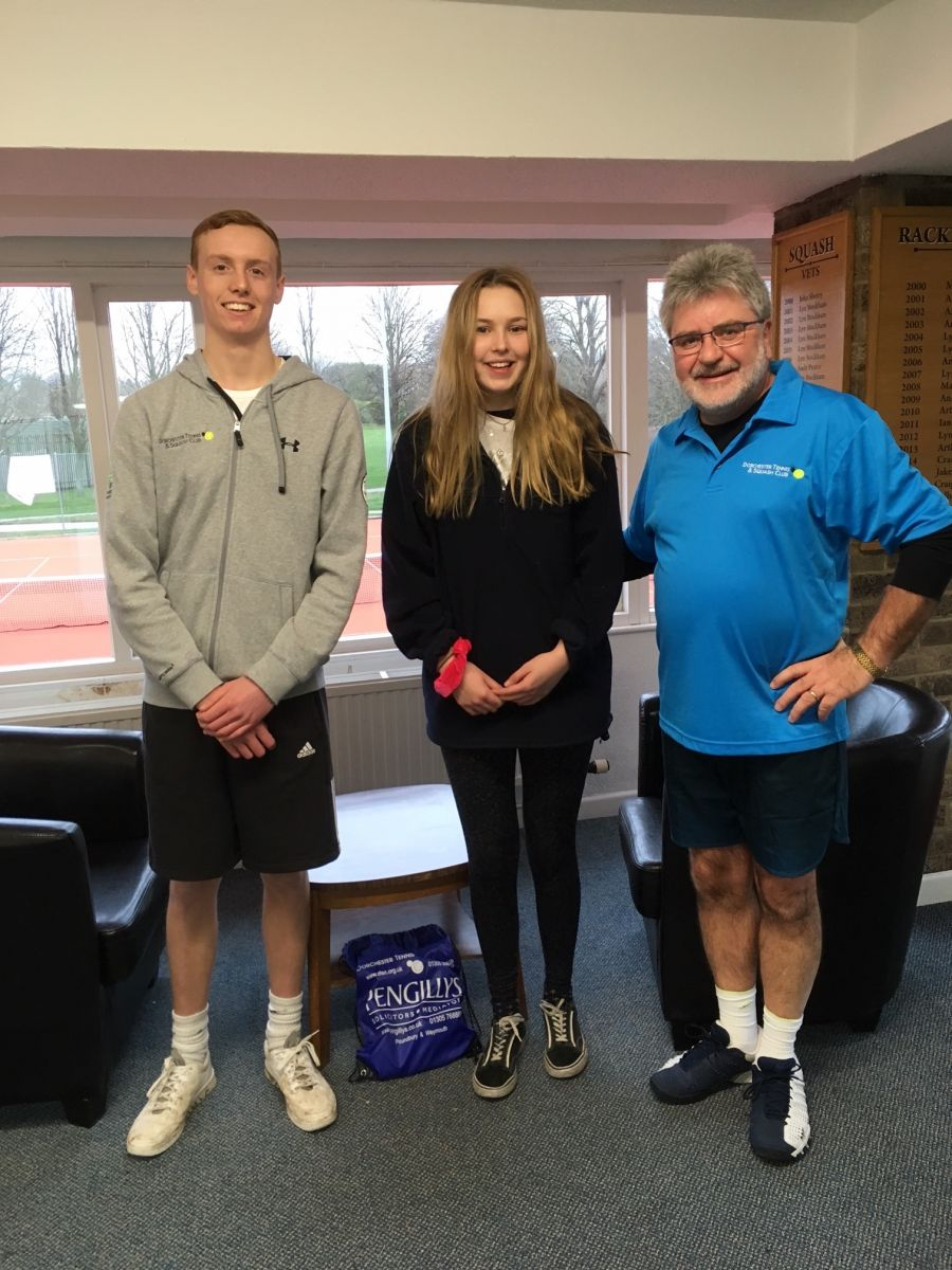 Mixed Doubles Consolation Winners Greg Charles (left) & Emily Noel (centre). Runner-up Keith Mason (right)