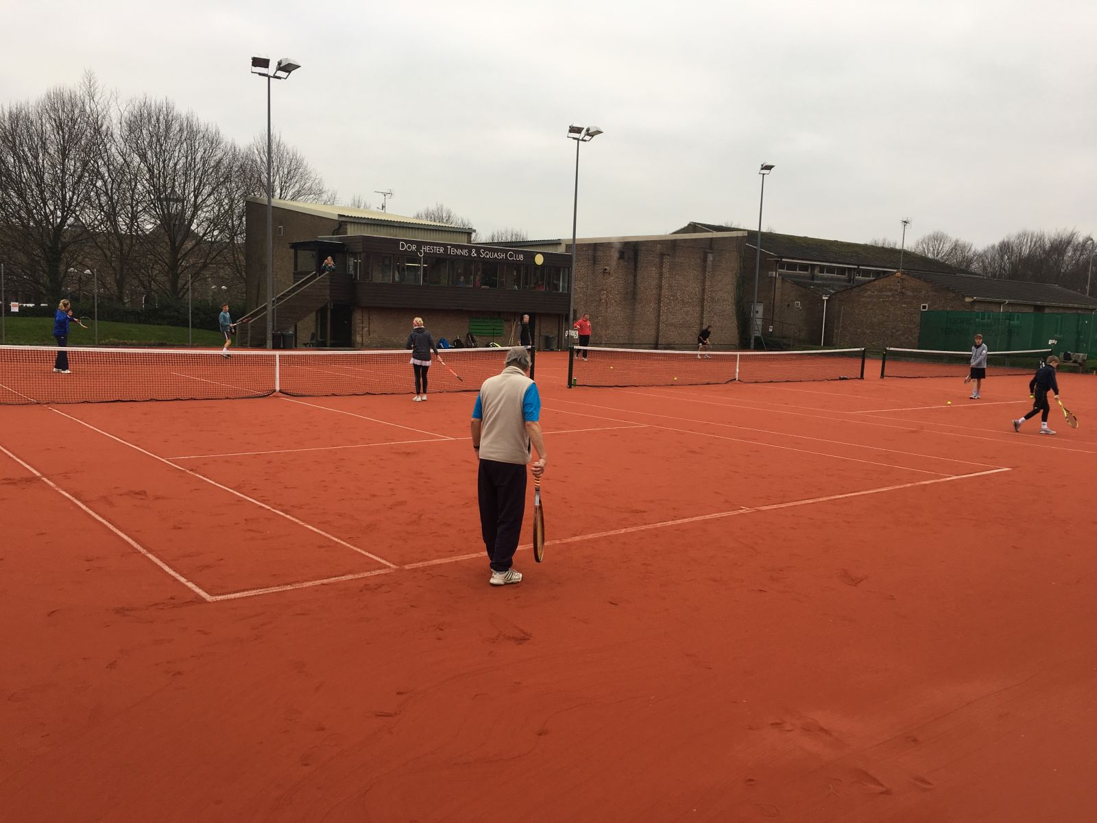 The new artificial clay courts in action